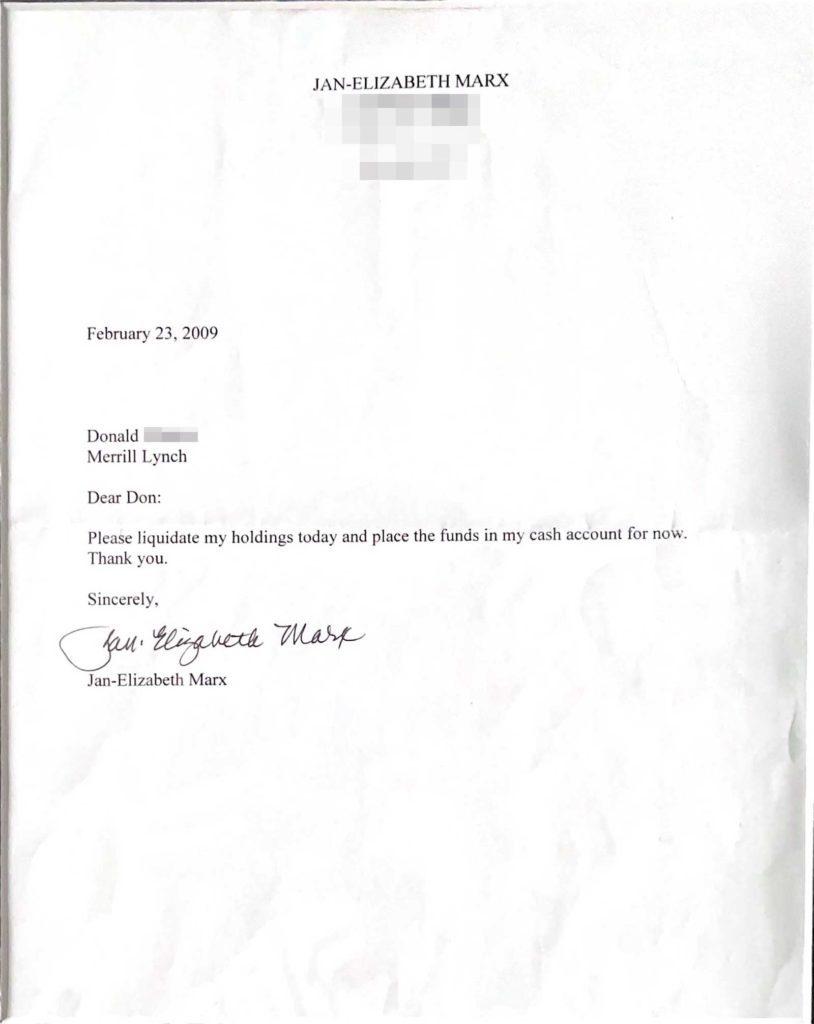 Liquidation letter